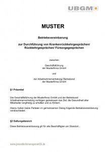 muster bv betriebsvereinbarung krankenrueckkehrgespraeche ubgm - Muster Betriebsvereinbarung
